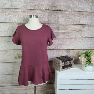 Cupio Peplum Short Sleeve Tunic Top